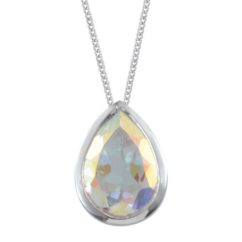 Mercury Mystic Topaz (Pear) Solitaire Pendant With Chain in Platinum Overlay Sterling Silver 5.500 Ct.