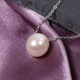 Freshwater White Pearl Pendant with Chain (Size 18) in Sterling Silver