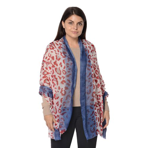 Leopard Pattern Winter Scarf with Tassel (Size 90x180 Cm) - Wine and Navy
