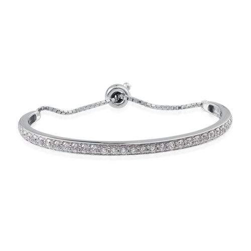 J Francis - Platinum Overlay Sterling Silver (Rnd) Adjustable Bangle (Size 7.5) Made with SWAROVSKI ZIRCONIA