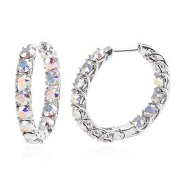 J Francis - Crystal from Swarovski AB Crystal (Rnd) Hoop Earrings (with Clasp) in Platinum Plated
