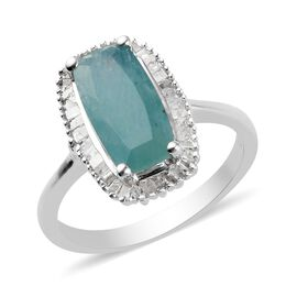 Grandidierite and Diamond Ring in Platinum Overlay Sterling Silver 2.75 Ct.