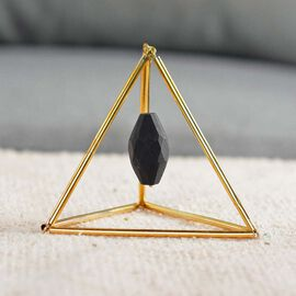 Geometric Design Table Decor with Hanging Shungite (40 Ct.) in Gold Tone (Size 7.62x7.62 Cm)