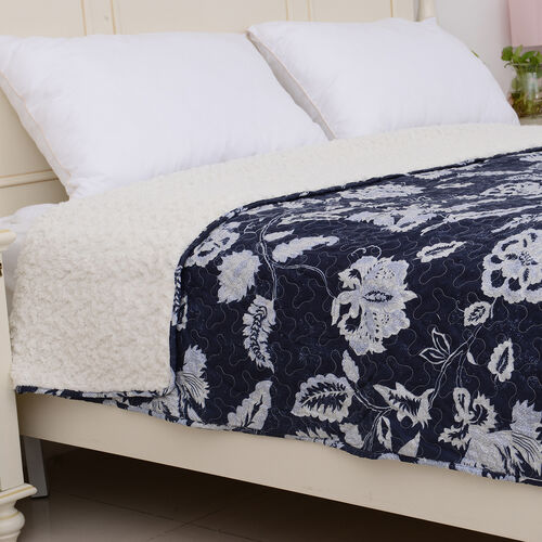 High-quality Printed Microfiber and Sherpa with White Floral Pattern Quilt (Size 240x180Cm) with Blue Colour