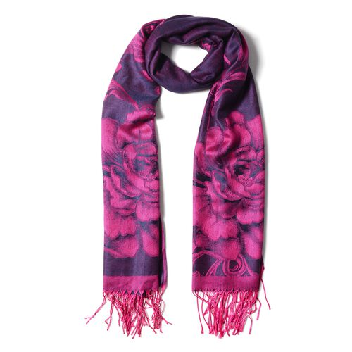 Designer Inspired- Purple Colour Sub Shrubby Peony Floral Pattern Monochrome Scarf with Tassels (Size 180X68 Cm)
