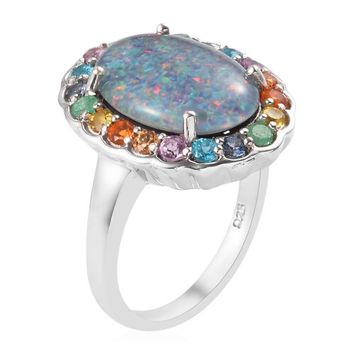 AA Australian Boulder Opal and Multi Gemtsone Ring in Platinum Overlay Sterling Silver