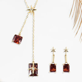 Set of 2 - Simulated Red Sapphire Necklace (Size 20 with 3 inch Extender) & Earrings (with Push Back
