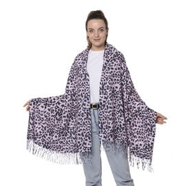 Close Out Deal- Reversible Leopard Pattern Shawl with Tassels (Size 180x70+8cm)- Fuchsia