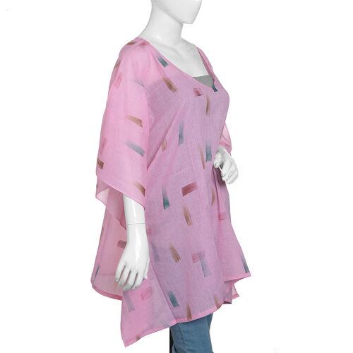 One Time Mega Deal-100% Cotton Pink and Multi Colour Kaftan (Size 85x70 Cm)