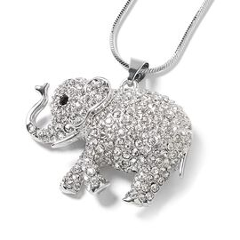 White and Black Austrian Crystal (Rnd) Elephant Pendant with Chain (Size 28 and 2 inch Extender) in Silver Tone