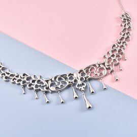 LucyQ Drip Collection Rhodium Overlay Sterling Silver Necklace (Size 16 with 2 inch Extender), Silver wt 33.67 Gms