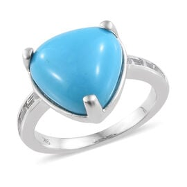 9K White Gold AAA Arizona Sleeping Beauty Turquoise (Trl), Natural Cambodian Zircon Ring 6.250 Ct.