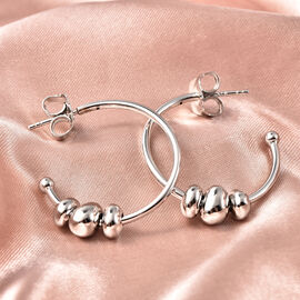 RACHEL GALLEY Conker Collection - Rhodium Overlay Sterling Silver Earrings (with Push Back), Silver Wt.6.67 Gms