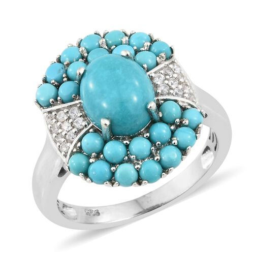 4.25 Ct Arizona Sleeping Beauty Turquoise and Zircon Cluster Ring in Platinum Plated Silver
