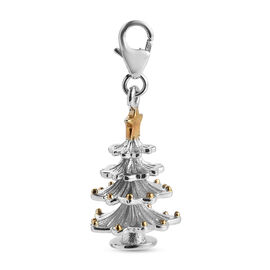 Platinum and Yellow Gold Overlay Sterling Silver Christmas Tree Charm