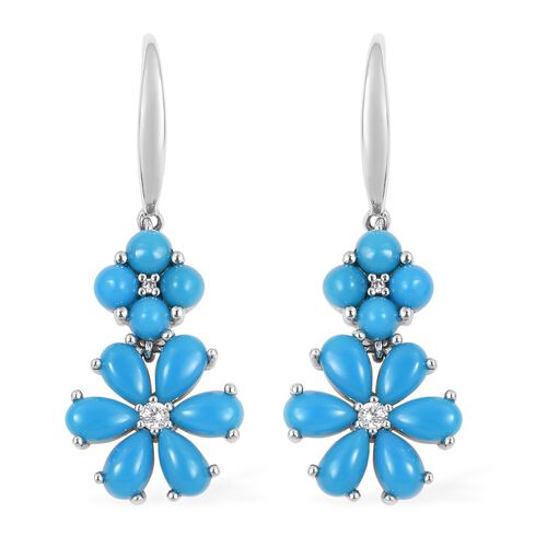 Arizona Sleeping Beauty Turquoise (Pear and Rnd), Natural White Cambodian Zircon Flower Hook Earrings in Rhodium Overlay Sterling Silver 3.370 Ct.