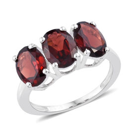 4 Carat Mozambique Garnet 3 Stone Ring in Sterling Silver