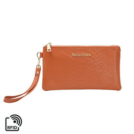 SENCILLEZ 100% Genuine Leather RFID Snake Skin Embossed Clutch Bag with Zipper Closure (Size 19x0.5c