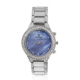 STRADA Japanese Movement Water Resistant with Blue MOP Dial White Crystal Studded Watch with Silver Strap
