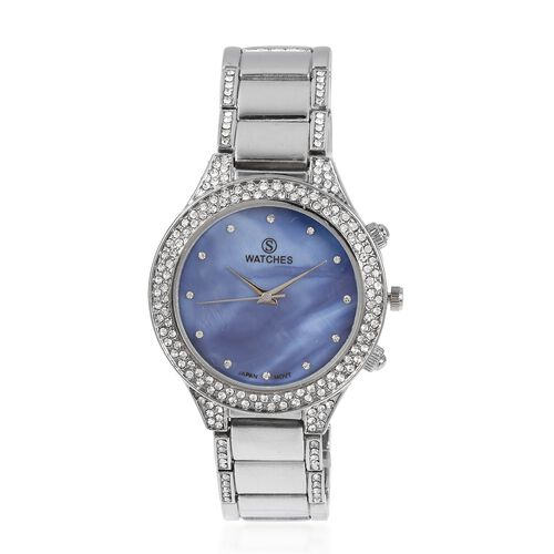 STRADA Japanese Movement Water Resistant with Blue MOP Dial White Austrian Crystal Studded Watch with Silver Strap