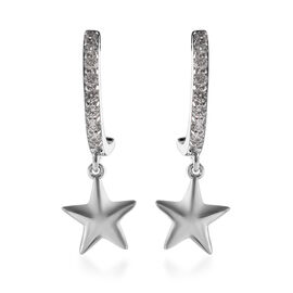 J Francis - Platinum Overlay Sterling Silver (Rnd) Star Charm Earrings (with Push Back) Made with SW