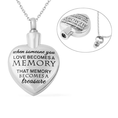 2 Piece Set - Engraved Memorial Heart Pendant with Chain (Size 20) and Funnel with Needle in Stainle