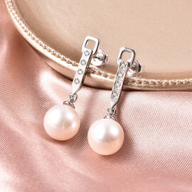 Edison Pearl and Natural Cambodian Zircon Earrings in Rhodium Overlay Sterling Silver