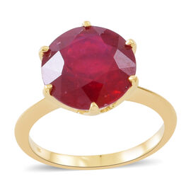 Limted Edition - Designer Inspired - 9K Yellow Gold AAA African Ruby (Rnd) Solitaire Ring 9.500 Ct.