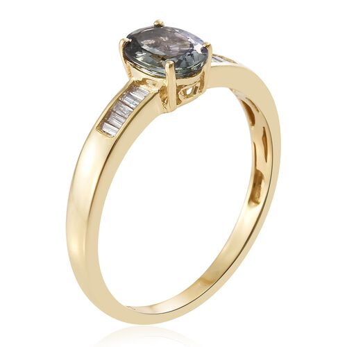 Limited Available-14K Yellow Gold Bi Colour Tanzanite (Ovl 1.02 Ct), Diamond (I2-I3/G-H) Ring 1.150 Ct.