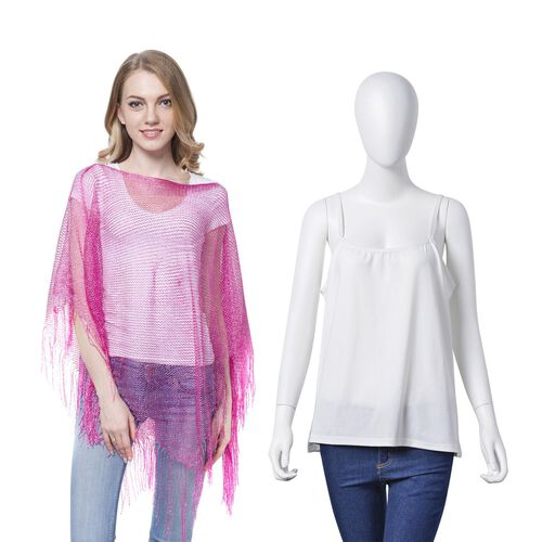Pink Colour Net Poncho (Size 150x45 Cm) and White Colour Vest (Size 60x55 Cm)