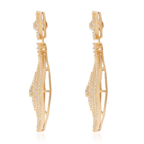 ELANZA Simulated Diamond (Rnd) Earrings in 14K Gold Overlay Sterling Silver, Silver Wt 11.15 Gms.