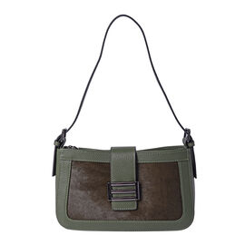 100% Genuine Leather Hobo Bag (26x7x15cm) with Clasp Closure - Green