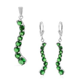 2 Piece Set ELANZA Simulated Emerald (Rnd) Lever Back Earrings and Pendant in Rhodium Overlay Sterli