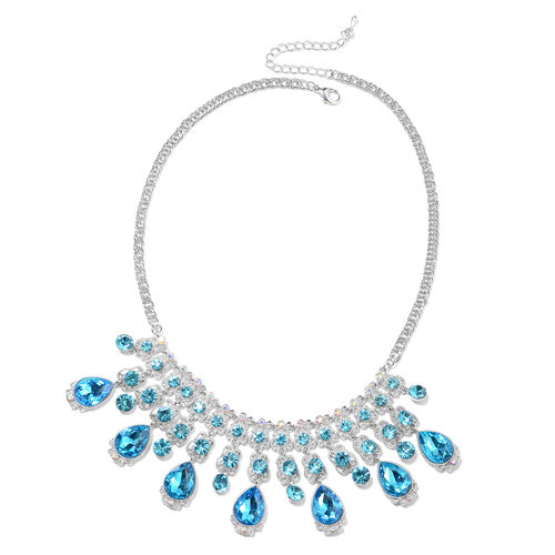 Simulated Aquamarine, Blue Austrian Crystal and Simulated Mystic White Crystal Necklace (Size 23 with Extender) in Silver Tone