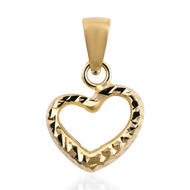 Royal Bali Collection - 9K Yellow Gold Diamond Cut Heart Pendant