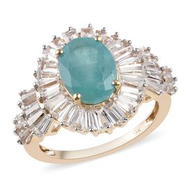 5 Carat Grandidierite and Cambodian Zircon Halo Ring in 9K Gold 3.25 Grams