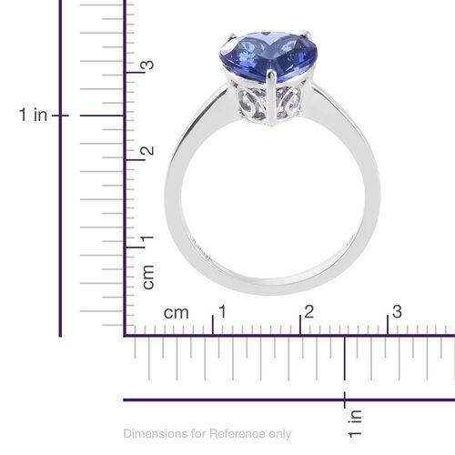 ILIANA 18K White Gold 3.50 Carat AAA Tanzanite (Hrt) Solitaire Ring