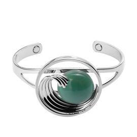 Green Aventurine Cuff Bangle (Size 6-7) in Silver Tone 35.00 Ct.