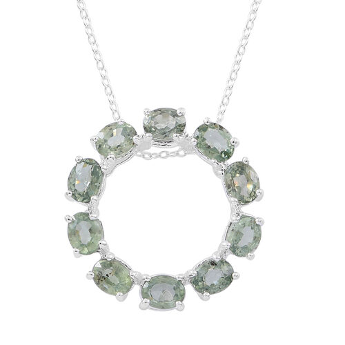 AA Songea Green Sapphire (Ovl) Circle of Life Pendant with Chain in Sterling Silver 2.000 Ct.
