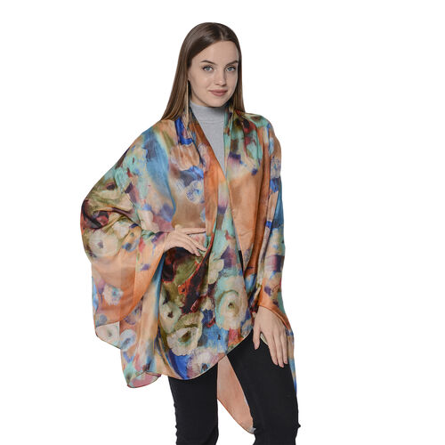 LA MAREY New Collection - 100% Mulberry Silk Artistic Floral Print Scarf (Size 180x110cm) - Orange