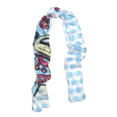 Last Chance - 100% Mulberry Silk Blue, Red and Multi Colour Handscreen Teddy Bear Printed Scarf (Size 180X100 Cm)