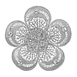Royal Bali Collection - Sterling Silver Filigree Floral Brooch or Pendant, Silver wt 7.06 Gms