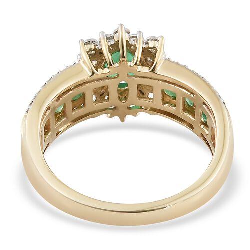 Limited Edition- 9K Yellow Gold AAA Premium Santa Terezinha Emerald (Ovl), Natural Cambodian Zircon Ring 2.350 Ct.Gold Wt 5.50 Gm
