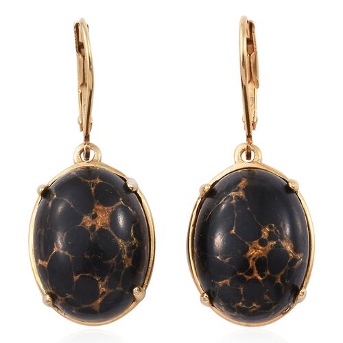 Arizona Mojave Black Turquoise (Ovl) Lever Back Earrings in 14K Gold Overlay Sterling Silver 16.750 Ct.