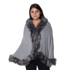 Solid Colour Crystal Blanket Wrap with Faux Fur Trim (Size 56x142+7.6 Cm) - Grey
