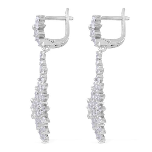 ELANZA Simulated White Diamond (Rnd) Earrings (with Clasp) in Rhodium Plated Sterling Silver