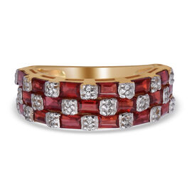 Red Sapphire and Natural Cambodian Zircon Ring in Two Tone Sterling Silver 2.64 Ct.