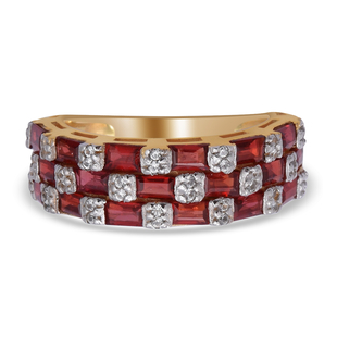 Red Sapphire and Natural Cambodian Zircon Ring in Two Tone Overlay Sterling Silver 2.64 Ct.