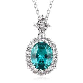 ELANZA Simulated Paraiba Tourmaline (Ovl), Simulated Diamond Pendant With Chain (Size 18) in Rhodium