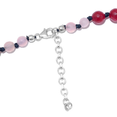 Rose Quartz and Multi Colour Quartzite Graduated Necklace (Size 18 with 2 inch Extender) in Platinum Overlay Sterling Silver 250.000 Ct.